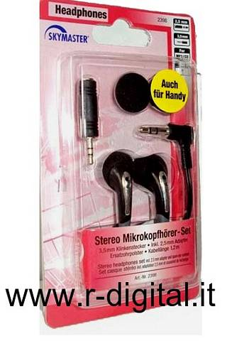 AURICOLARI STEREO JACK 3,5 & 2,5 CUFFIE IPHONE IPOD MP3 PC MP4